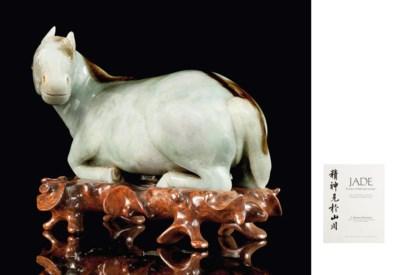 A LARGE JADEITE HORSE