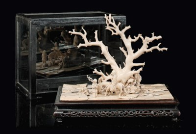 A CHINESE IVORY AND CORAL GROU