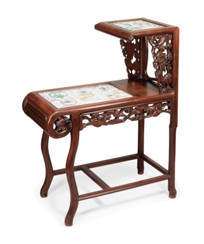 A SMALL HONGMU TABLE WITH INLA