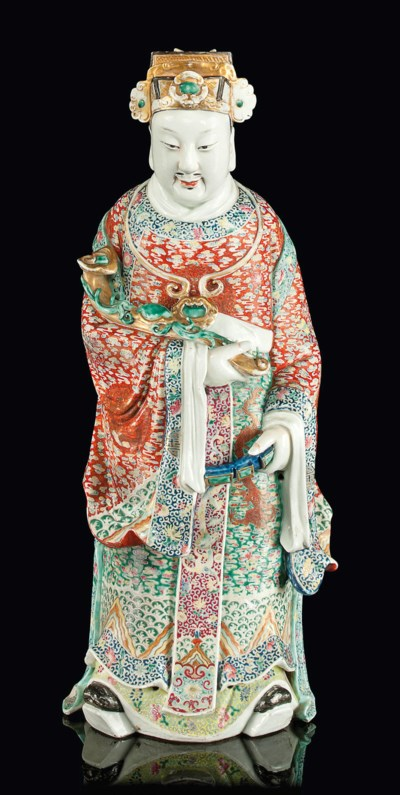 A LARGE POLYCHROME DECORATED F