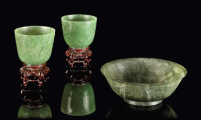 A PAIR OF SPINACH JADE CUPS AN