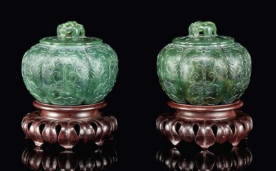 A PAIR OF SPINACH-GREEN JADE M