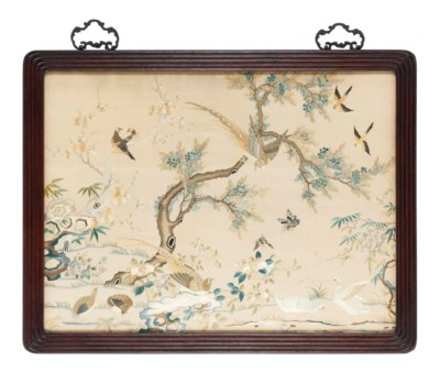 A FRAMED EMBROIDERY OF BIRDS