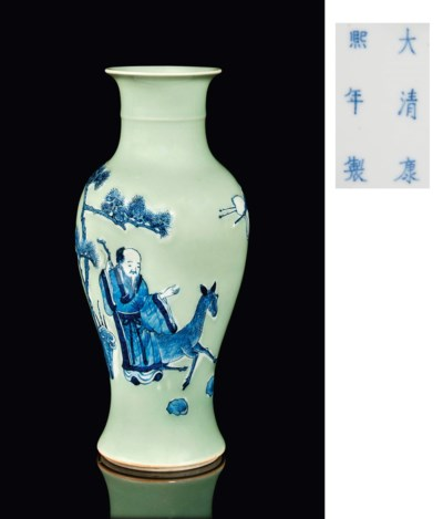 A CELADON GROUND BLUE AND WHIT