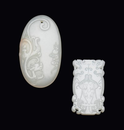 TWO WHITE JADE PLAQUES