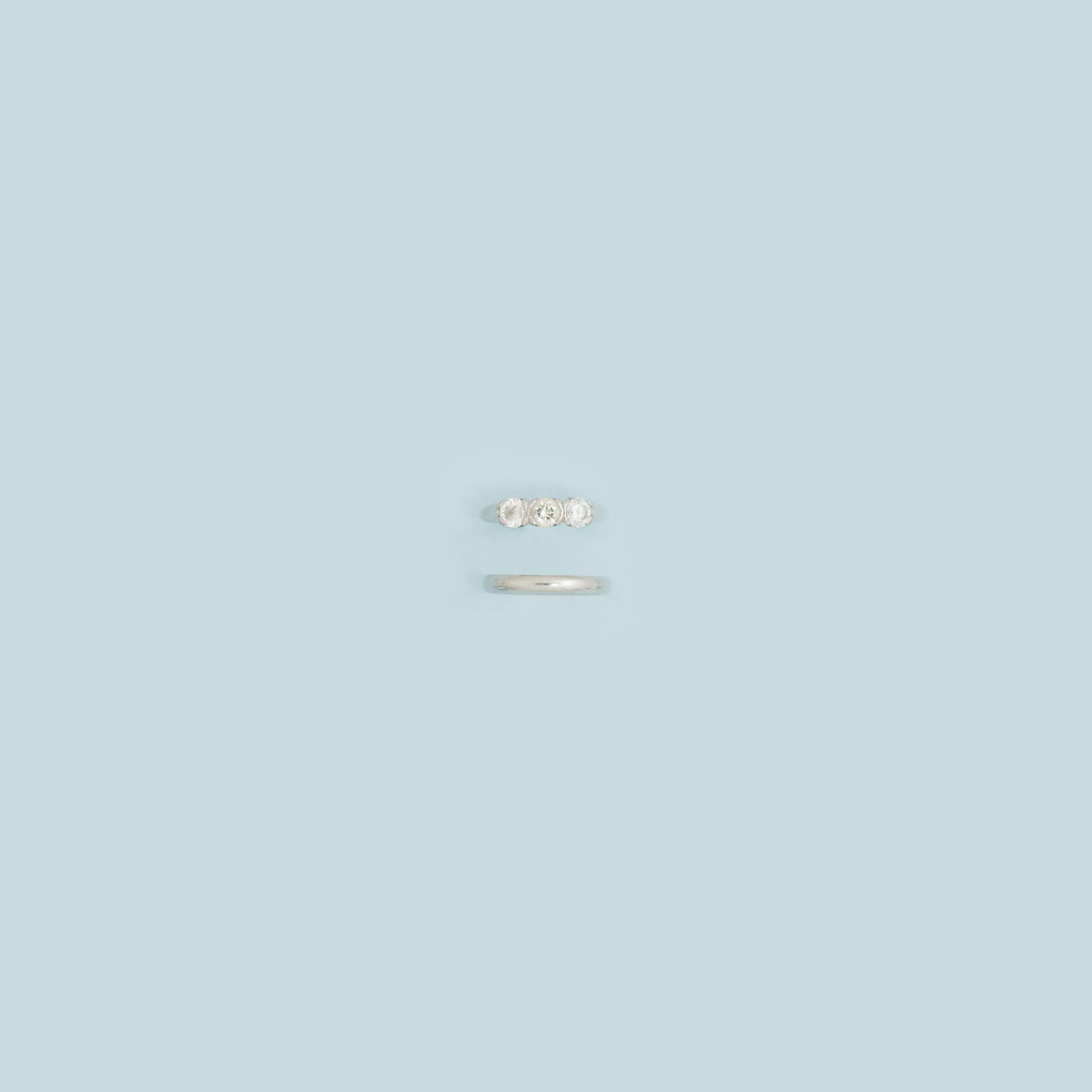 A platinum three-stone diamond