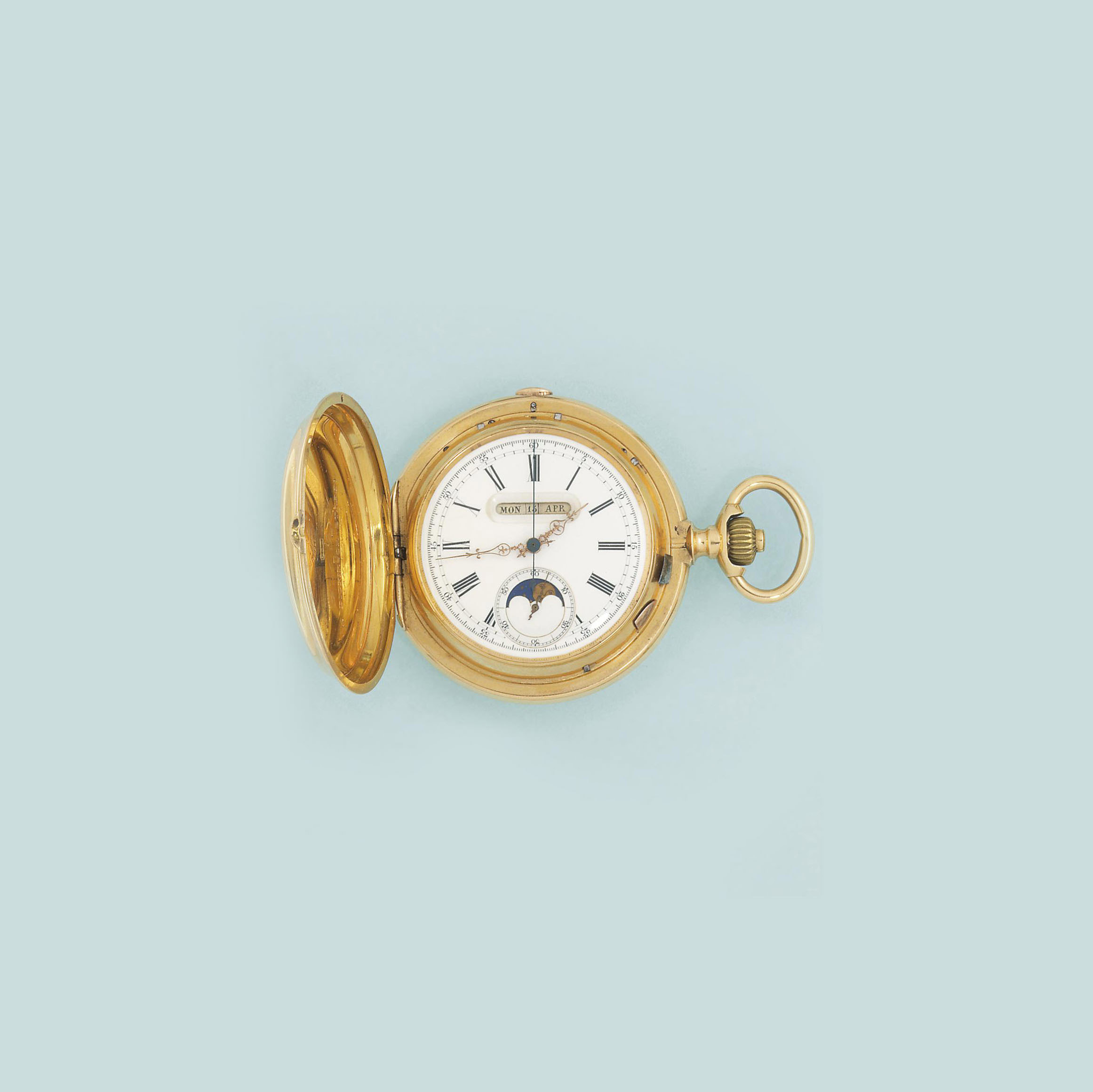 A Swiss gold hunting cased calendar, chronograph pocket watch