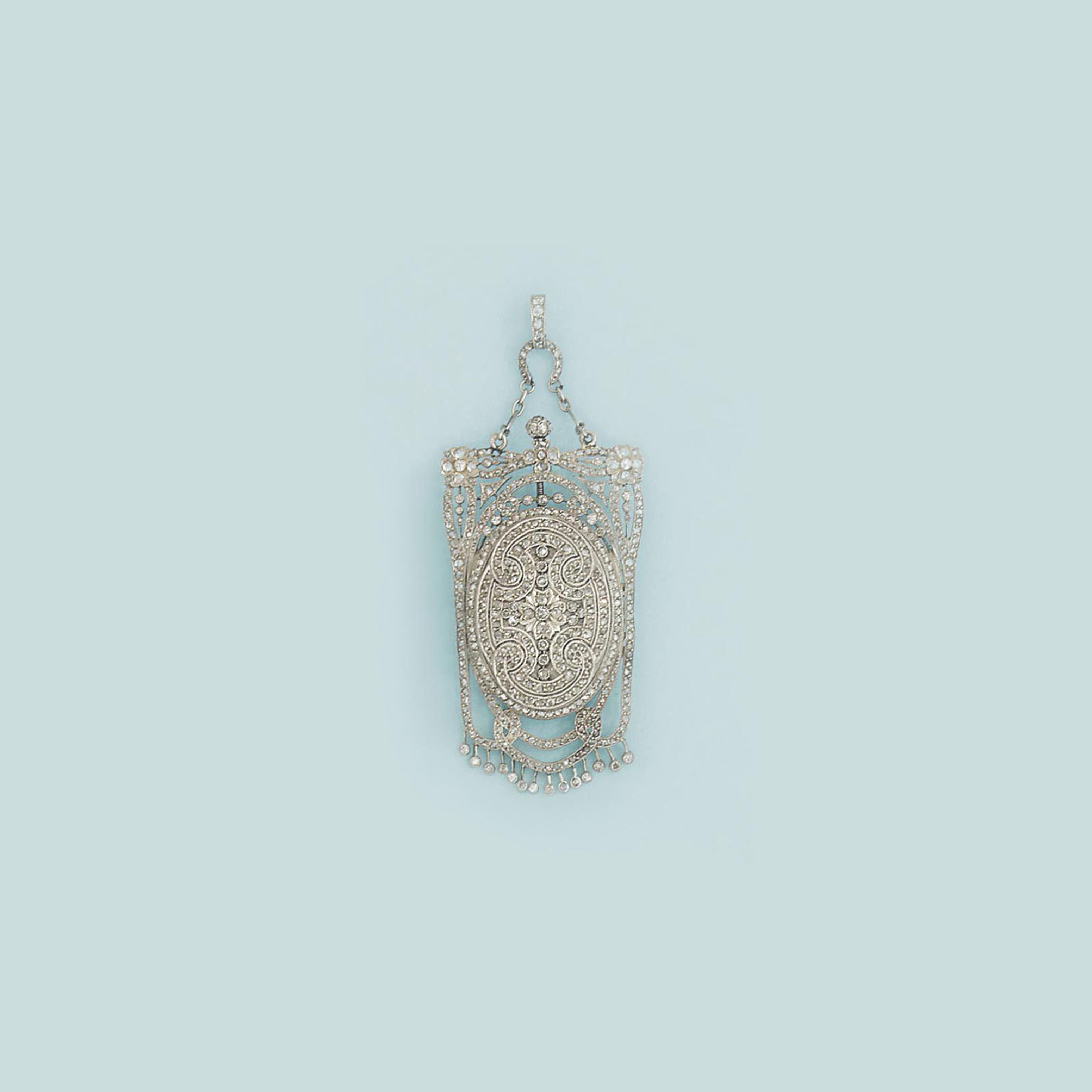 A Belle epoque diamond-set watch pendant