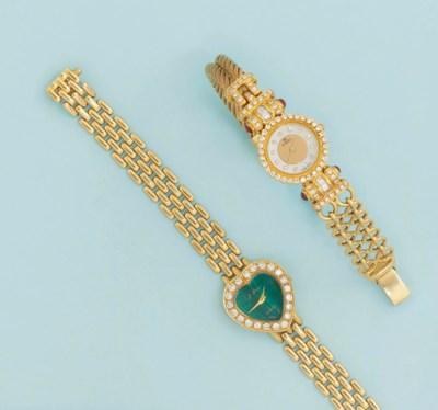 Two lady's diamond set quartz