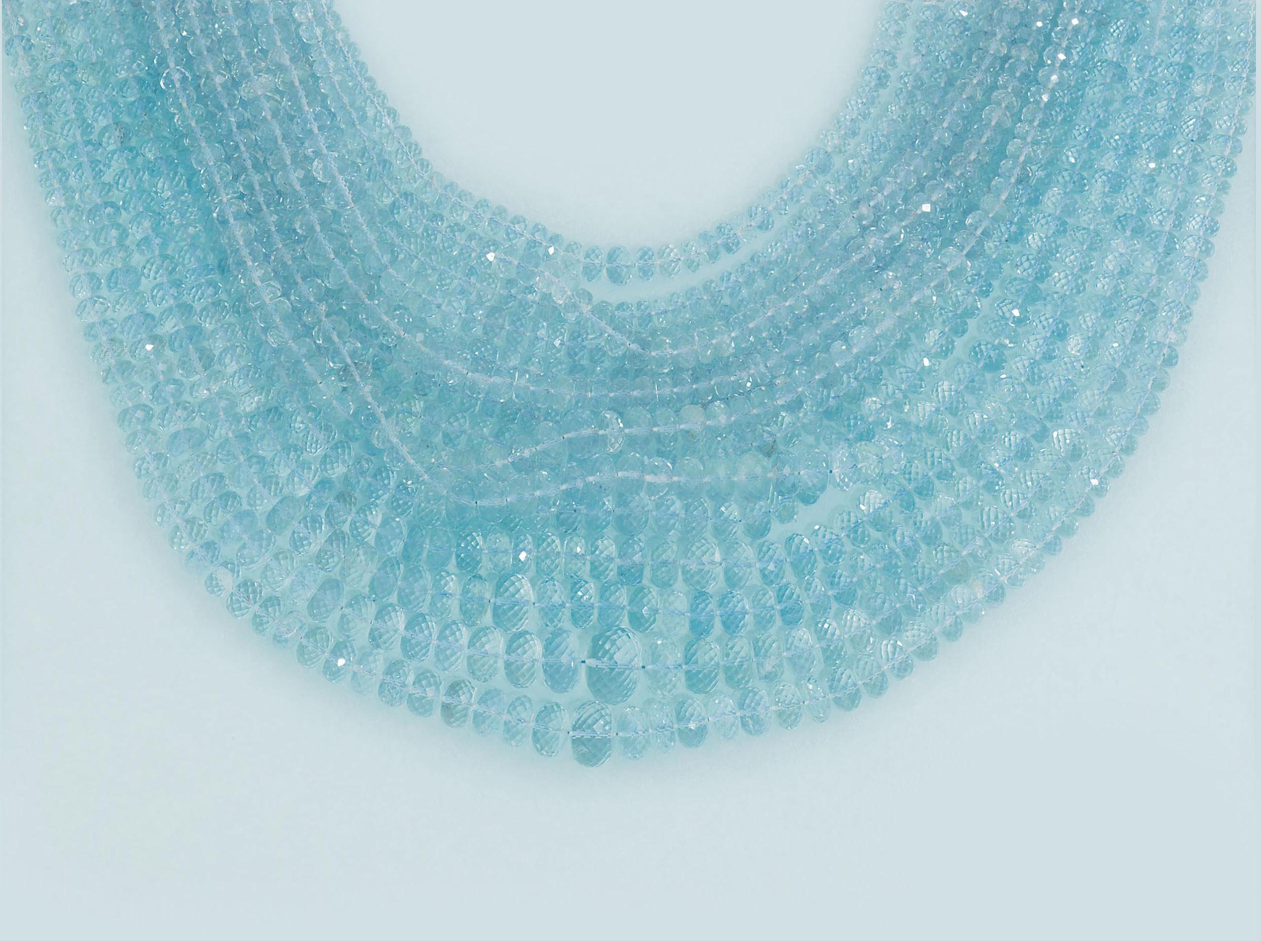 An aquamarine necklace