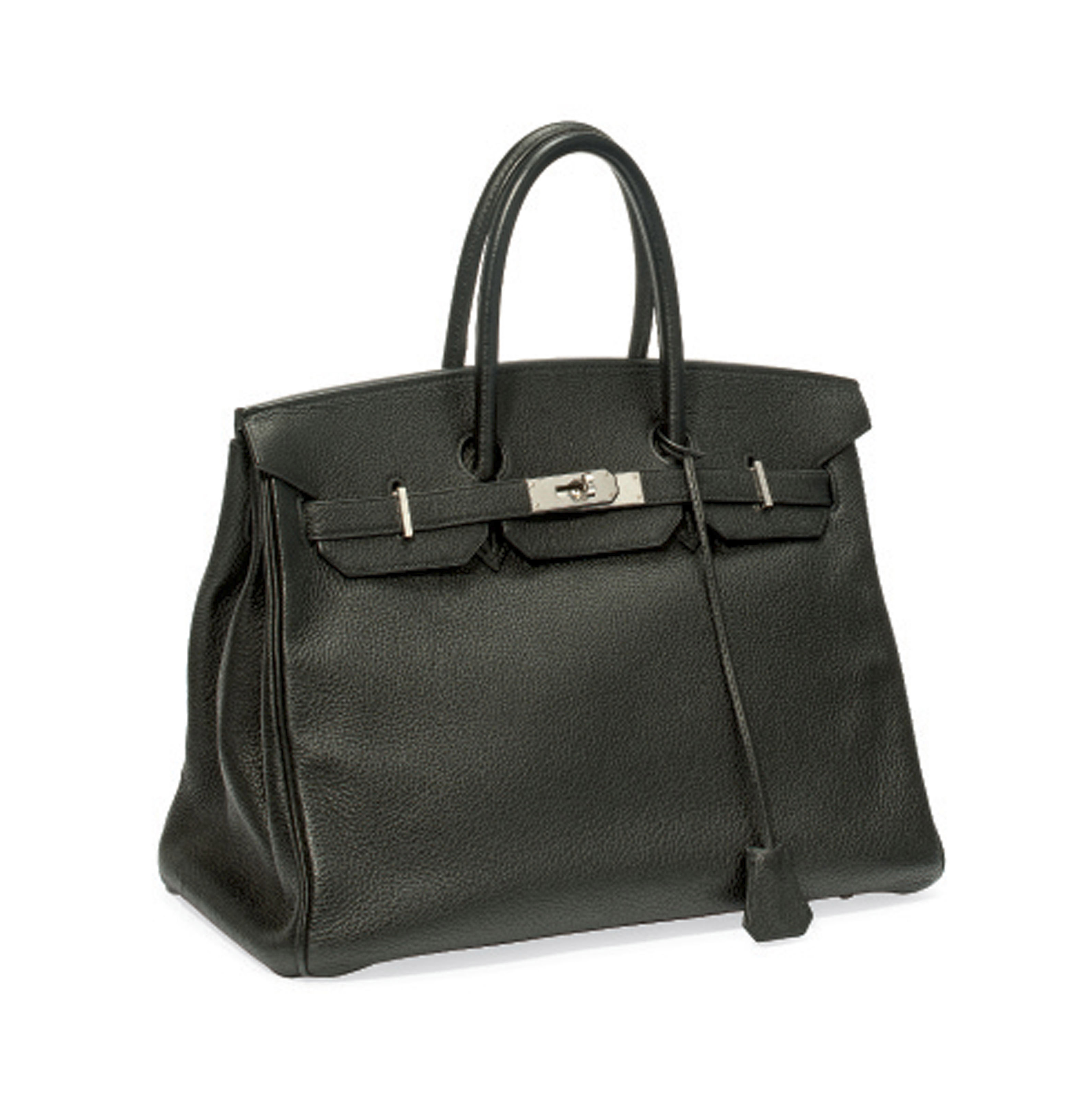 A BLACK LEATHER 'BIRKIN' BAG