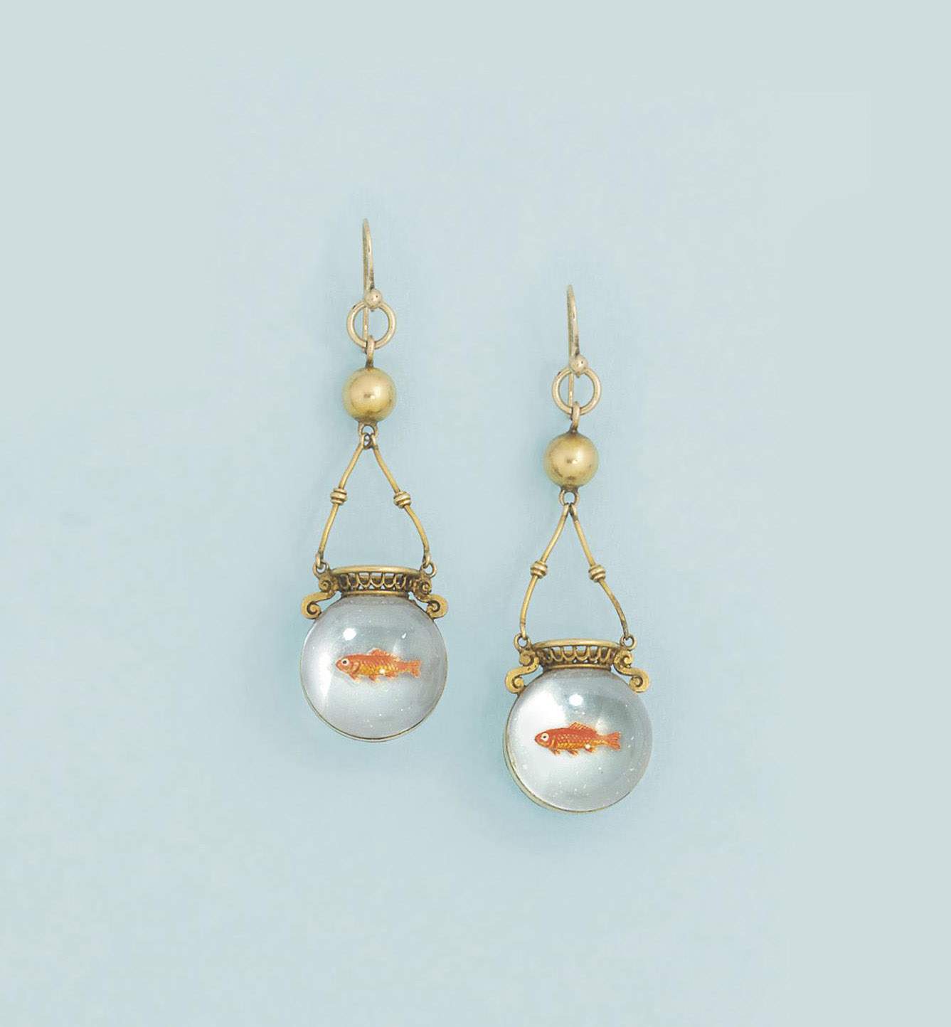 A pair of Victorian reverse painted crystal intaglio earpendants
