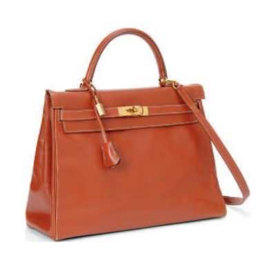 A BRICK RED BOX LEATHER 'KELLY