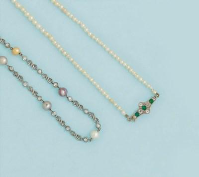 A pearl and diamond bracelet a