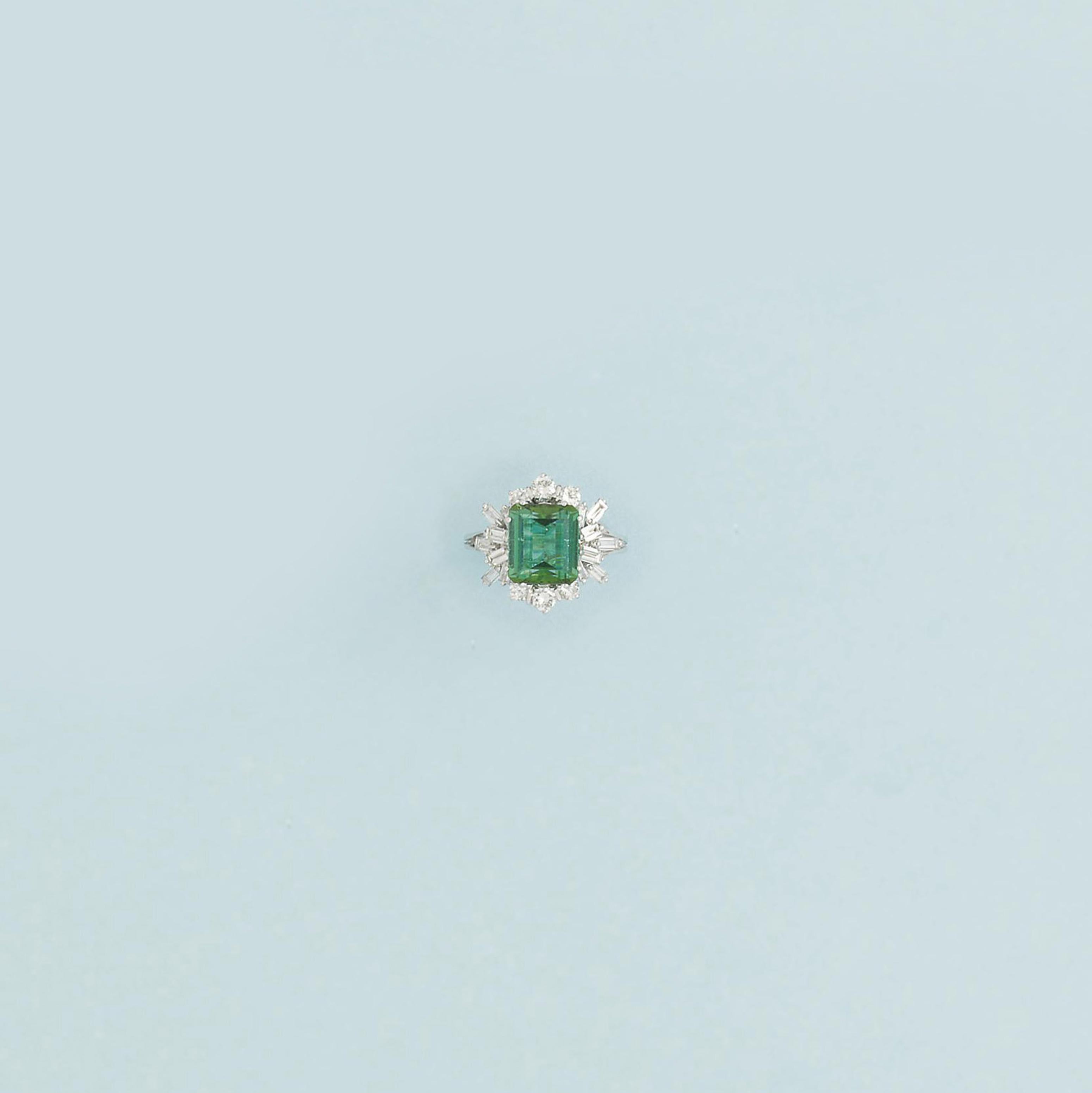 A green tourmaline and diamond