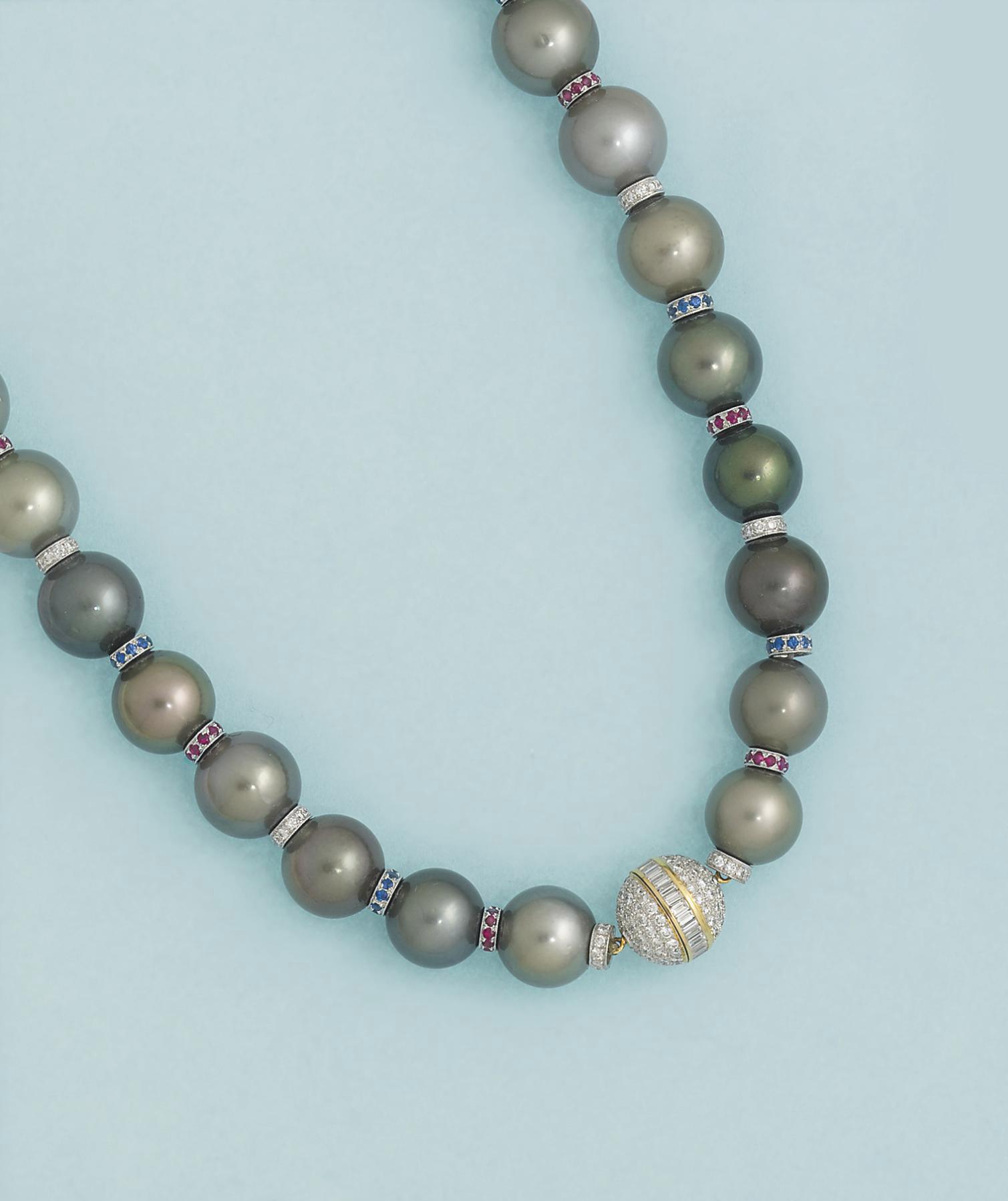 A cultured pearl, diamond, rub