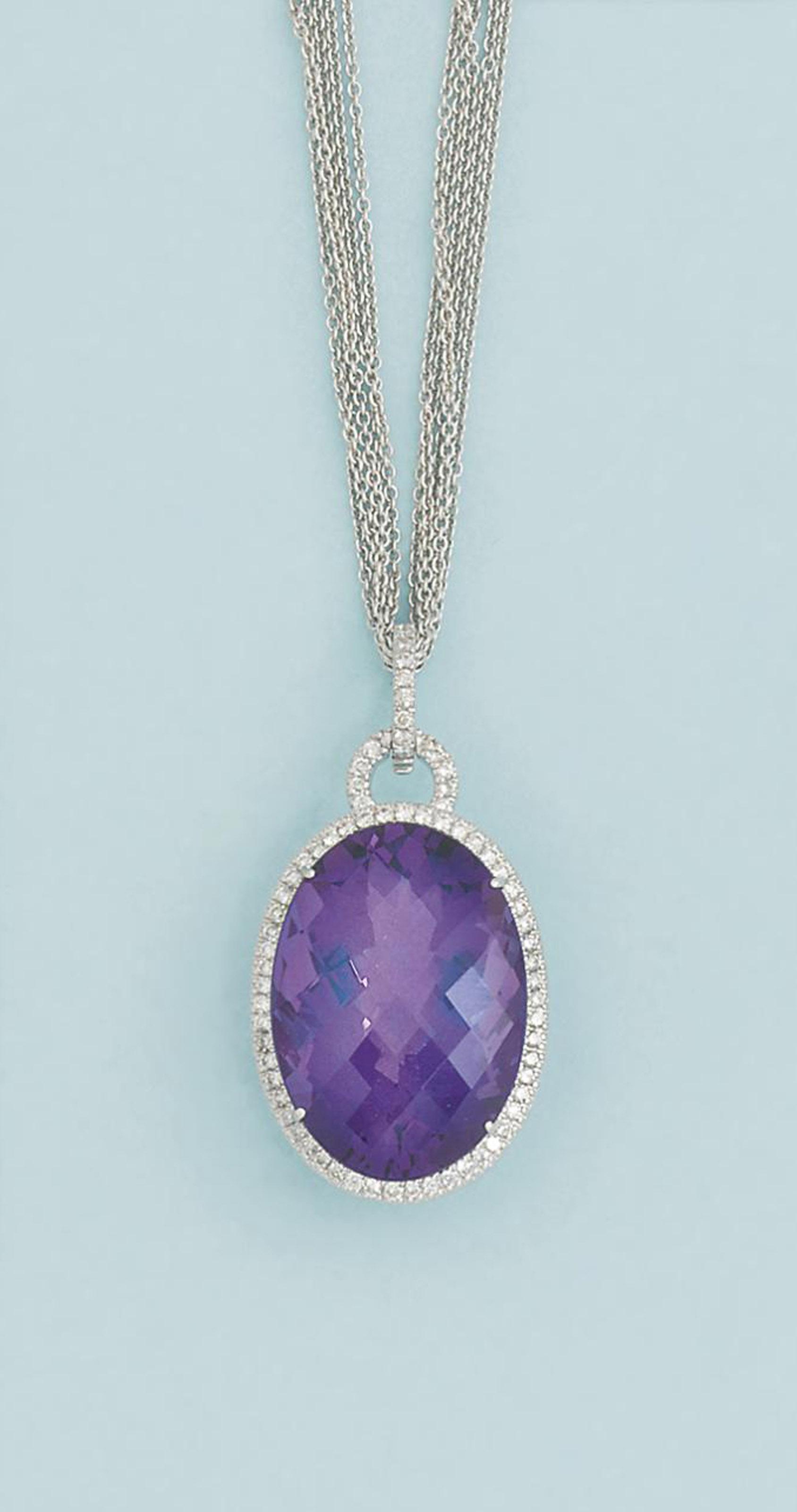 An amethyst and diamond pendan