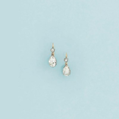 A pair of Victorian diamond ea