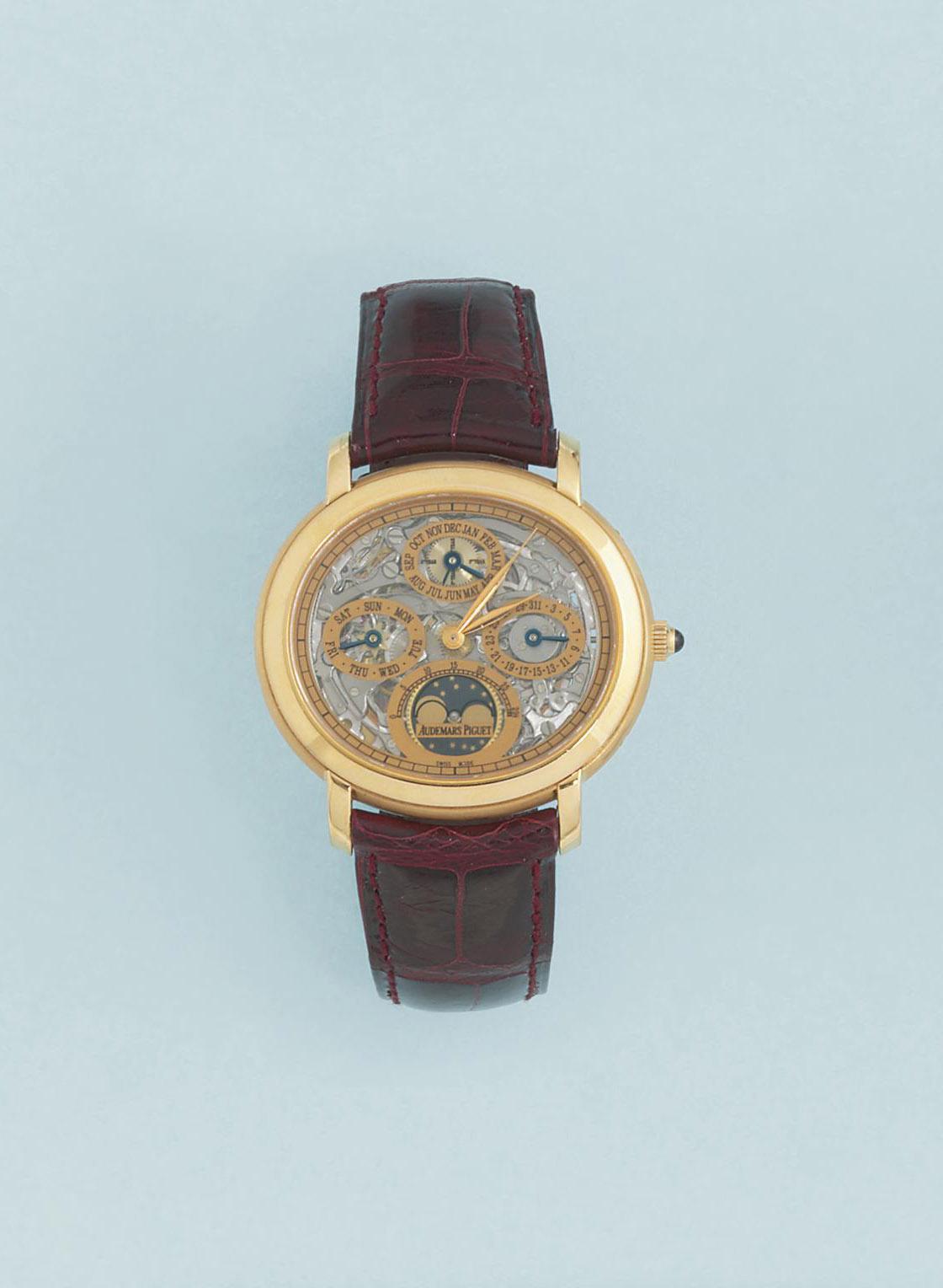 "An 18ct. Gold, ""Quantieme"" perpetual calendar, Limited edition millenary model wristwatch, by Audemers Piguet"