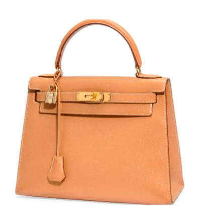 A GOLD LEATHER 'KELLY' BAG