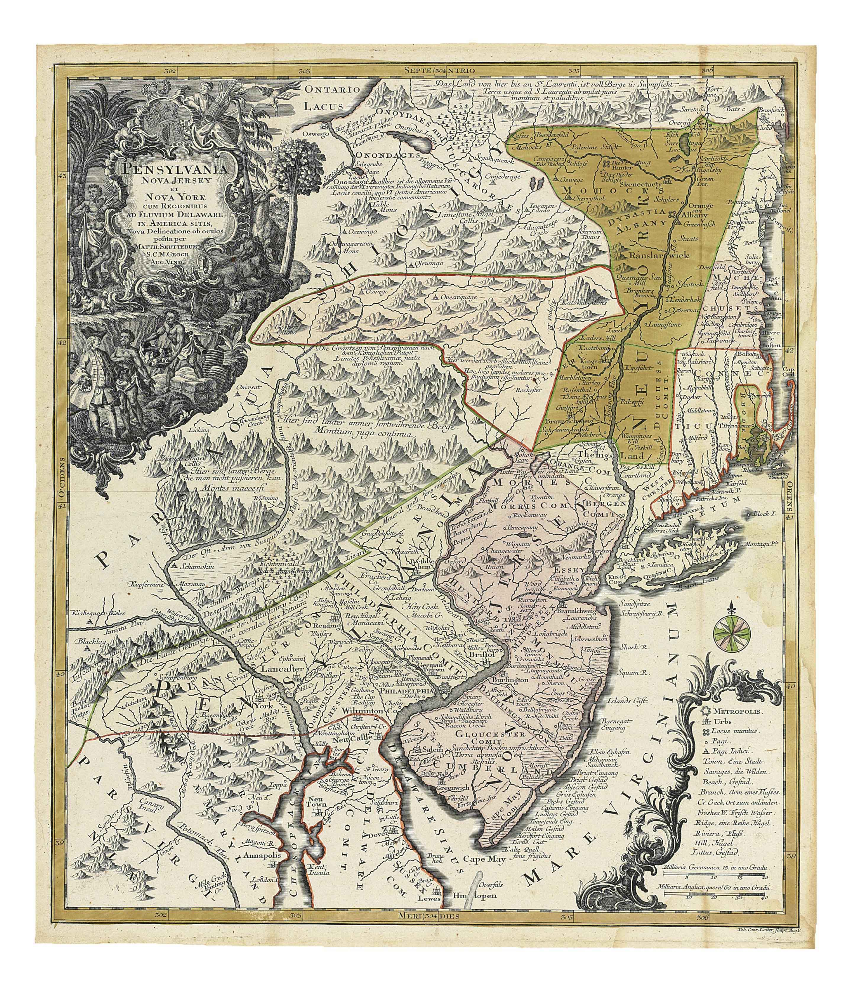 SEUTTER, Georg Matthäus (1678-1757). Pensylvania Nova Jersey et Nova York cum regionibus ad fluvium Delaware in America sitis. [Augsburg: 1751]. Double-page engraved map, with ornate cartouche depicting William Penn trading with native Americans surrounded by indigenous flora and fauna, hand-coloured in outline and with colouring to New Jersey, New York and Rhode Island. (Very light dampstain at right-hand edge, mainly in the sea.) 598 x 515mm.
