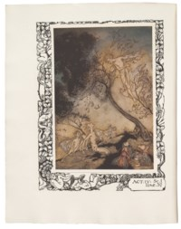 SHAKESPEARE, William (1564-1616) -- RACKHAM, Arthur (1867 -1939, illustrator). The Tempest. London: William Heinemann, [1926]. 4° (290mm x 225mm). Half title, mounted coloured frontispiece, 20 mounted coloured plates and numerous text illustrations by Rackham. Original vellum backed parchment with Rackham's gilt design on front cover and spine, top edge gilt, others uncut (lower edges a little stained, all edges rubbed, corners lightly bumped, a few light stains).