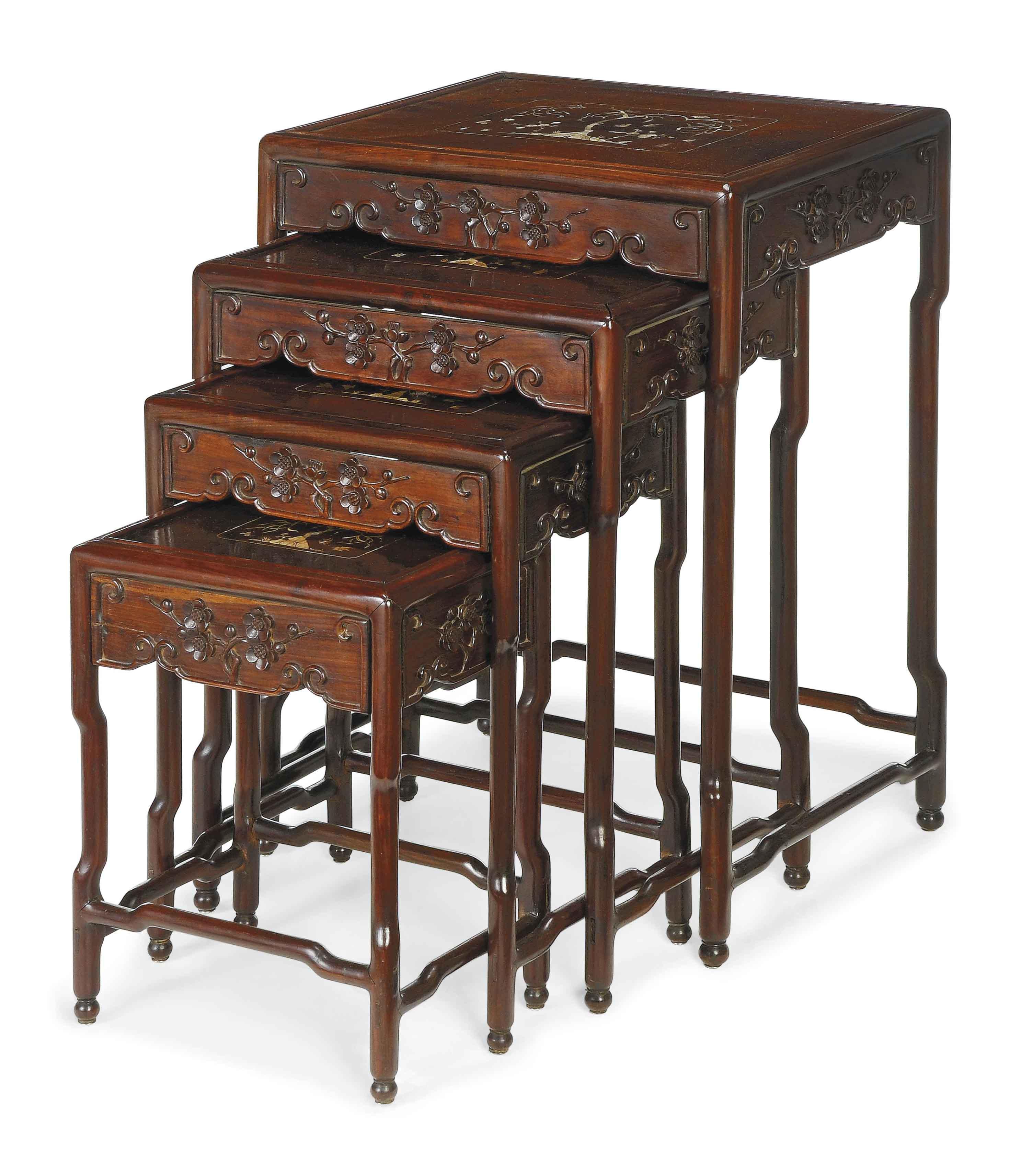 Pearl Inlaid Hardwood Quartetto Tables
