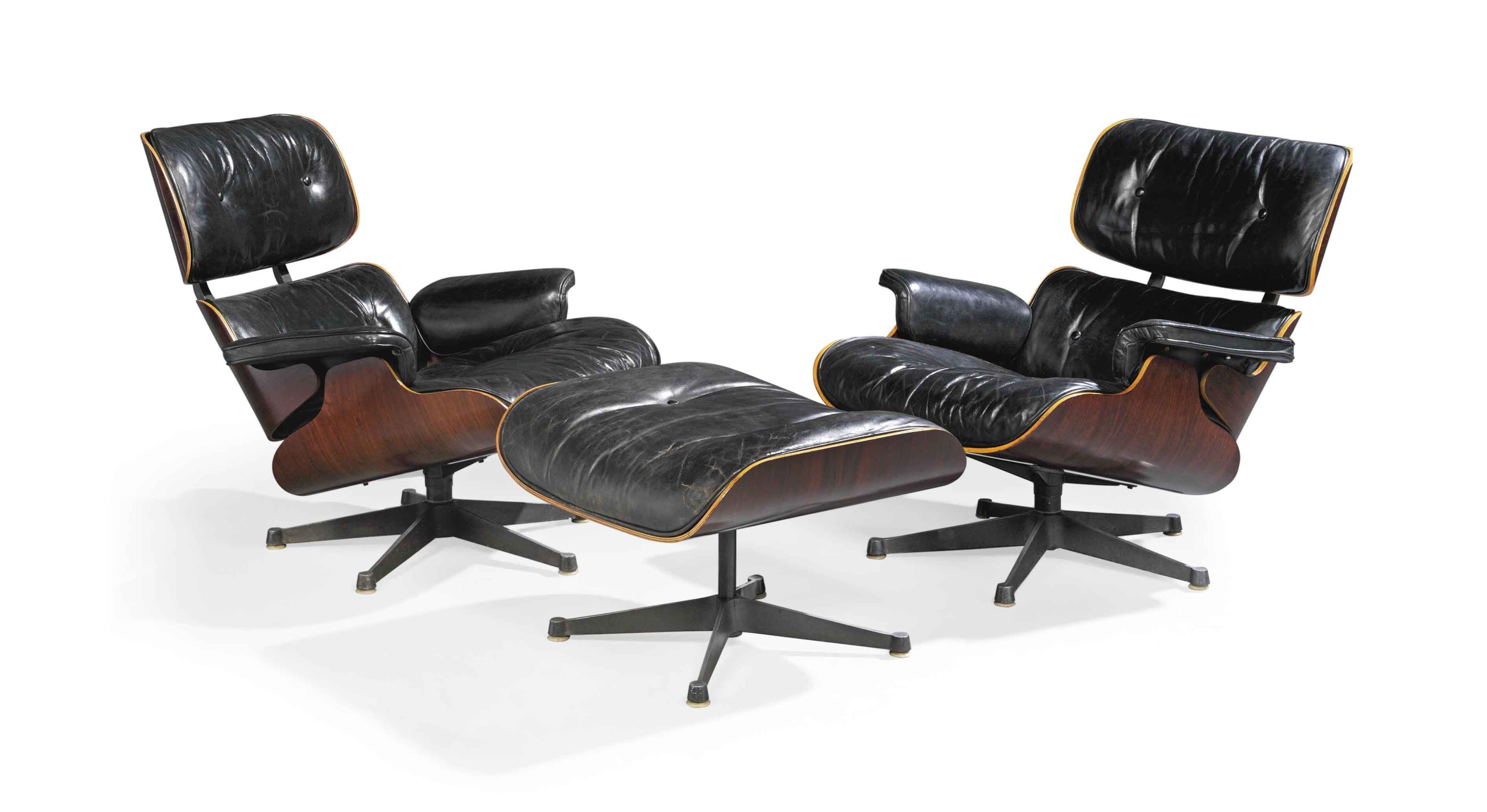 A PAIR OF CHARLES & RAY EAMES \'670\' LOUNGE CHAIRS AND A \'671 ...