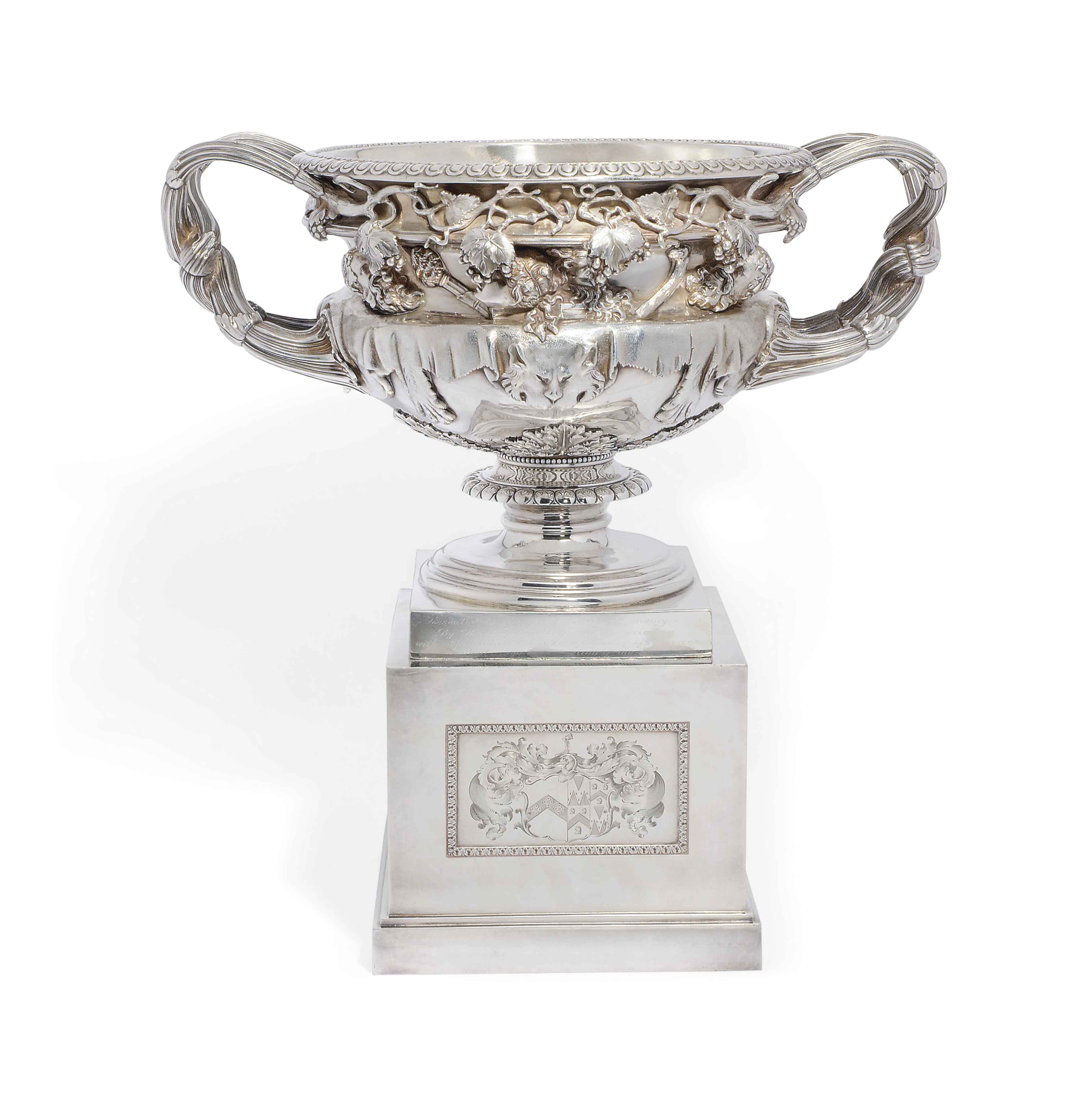 A LATE VICTORIAN SILVER COPY OF THE 'WARWICK' VASE