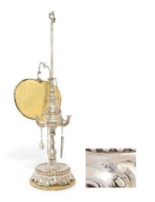A RARE MALTESE SILVER OIL LAMP