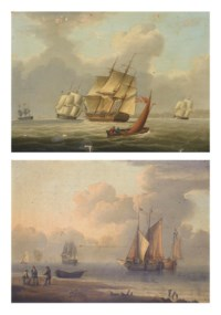 A frigate and other shipping heeling in the breeze in coastal waters; and Barges and other shipping in a calm off the Dutch coast, with fishermen on the beach in the foreground (both illustrated)