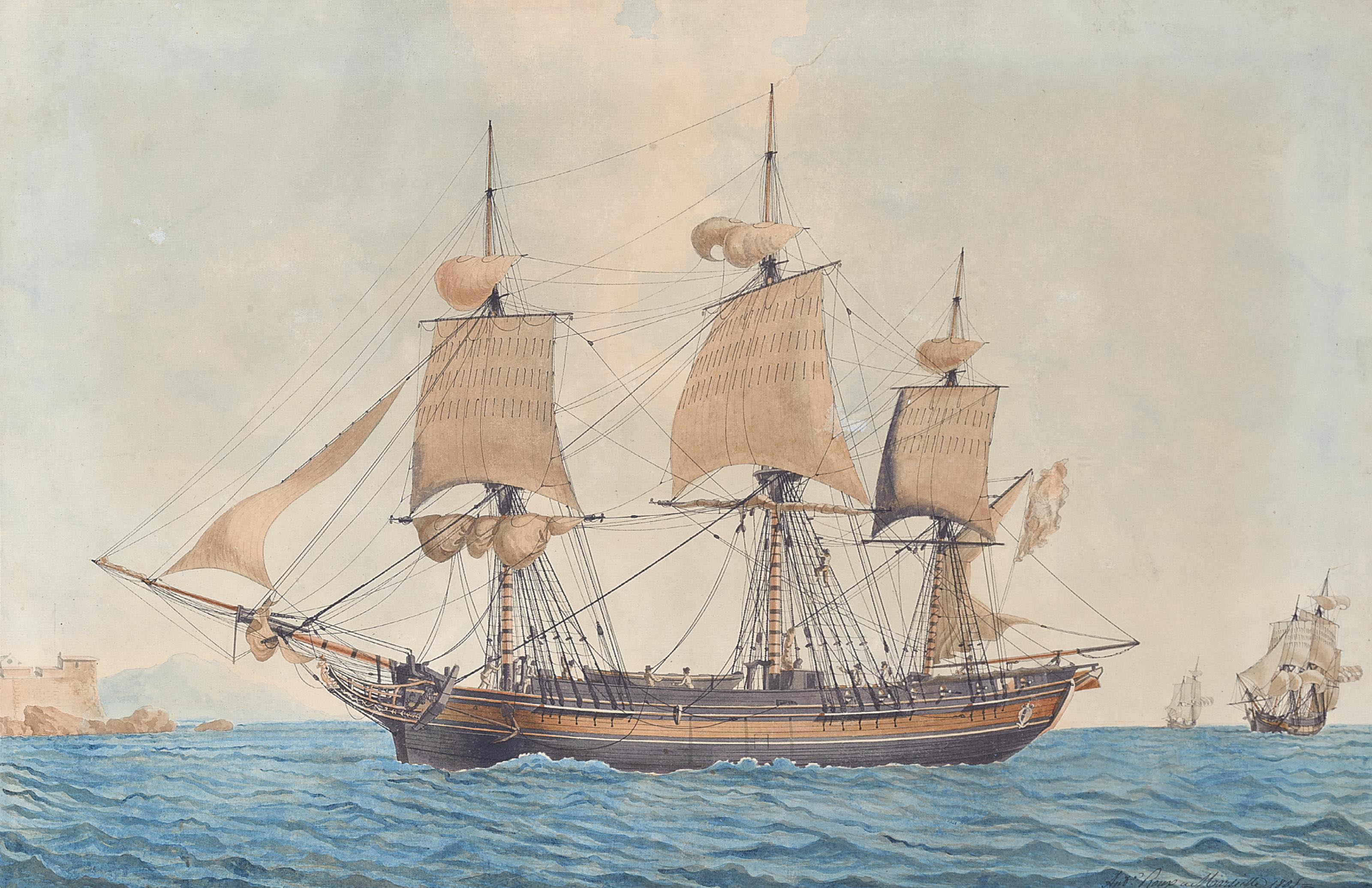 A Bergen merchant frigate in the Mediterranean heading into Marseilles