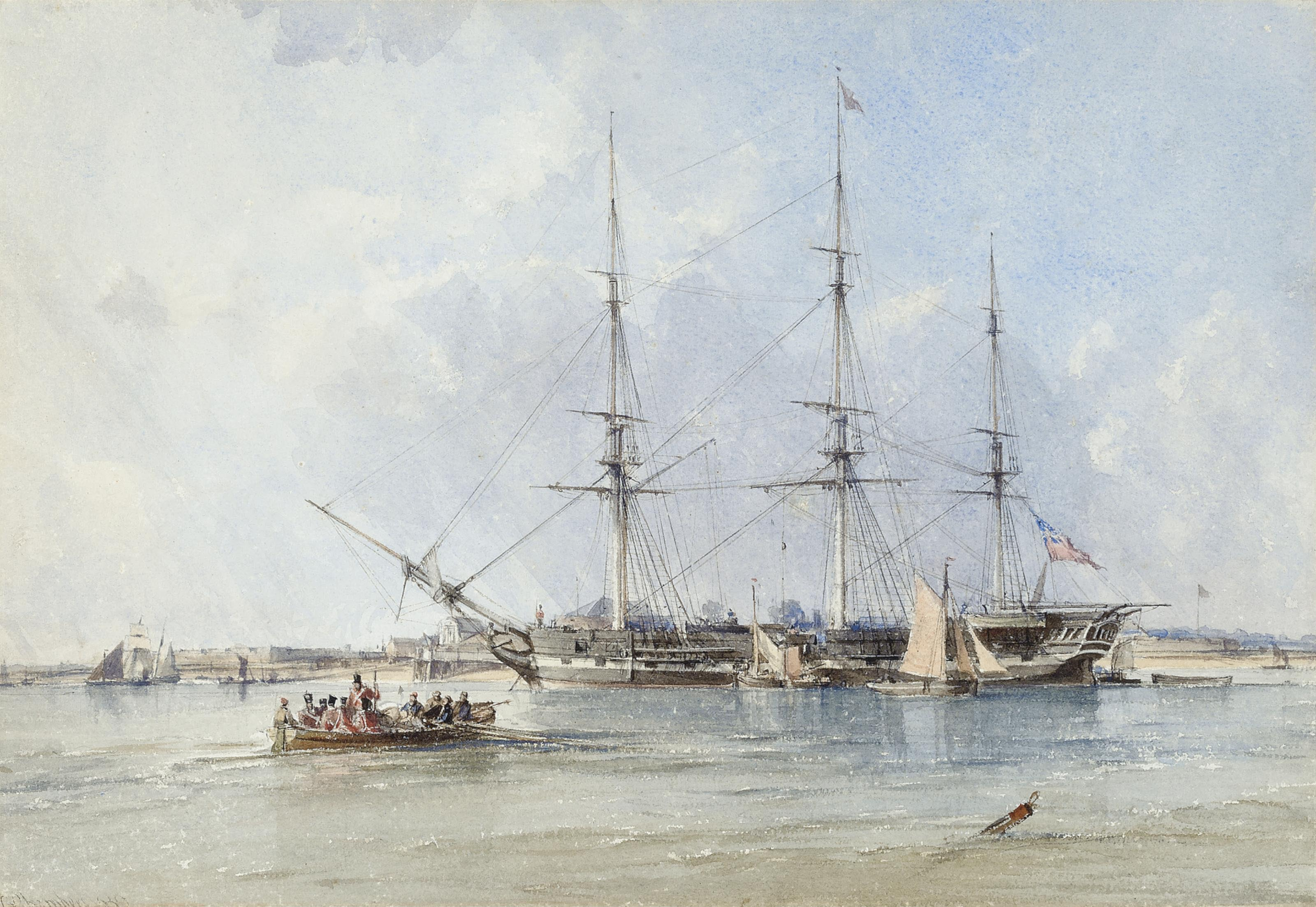 The Blackwall frigate Seringapatam at anchor off Tilbury Fort