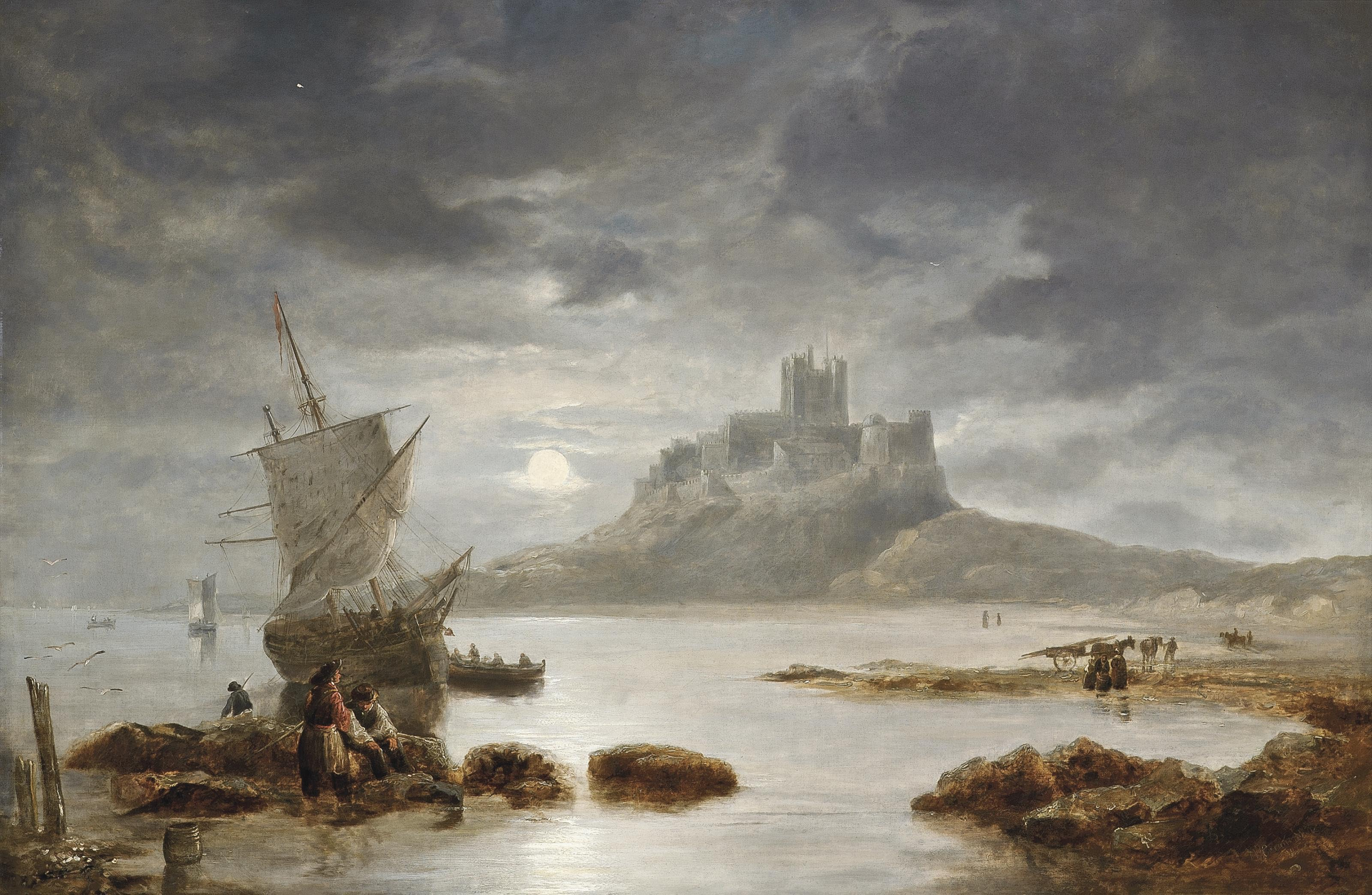 Bamburgh Castle by moonlight