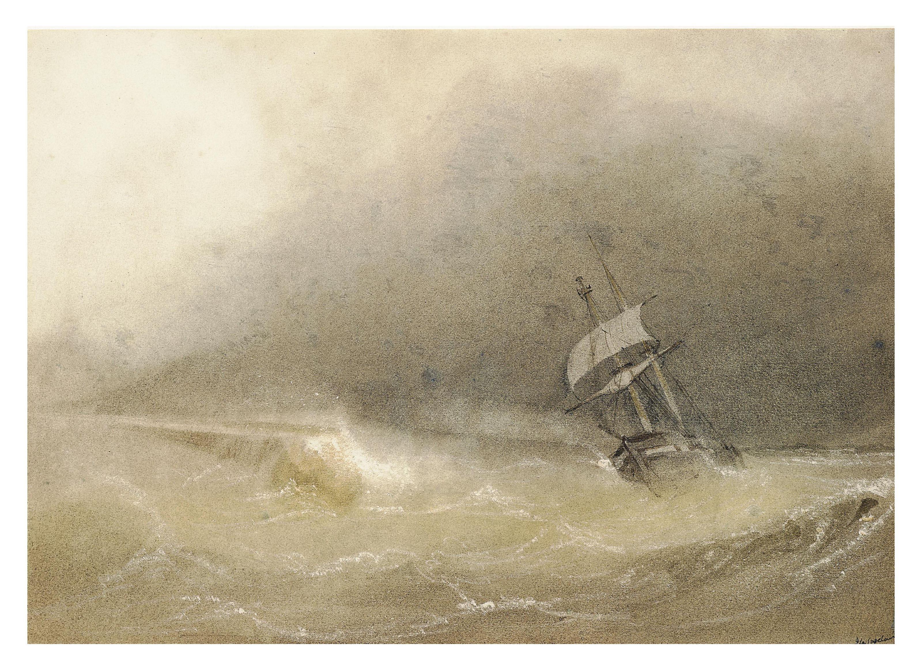 A brig reefed-down in heavy seas