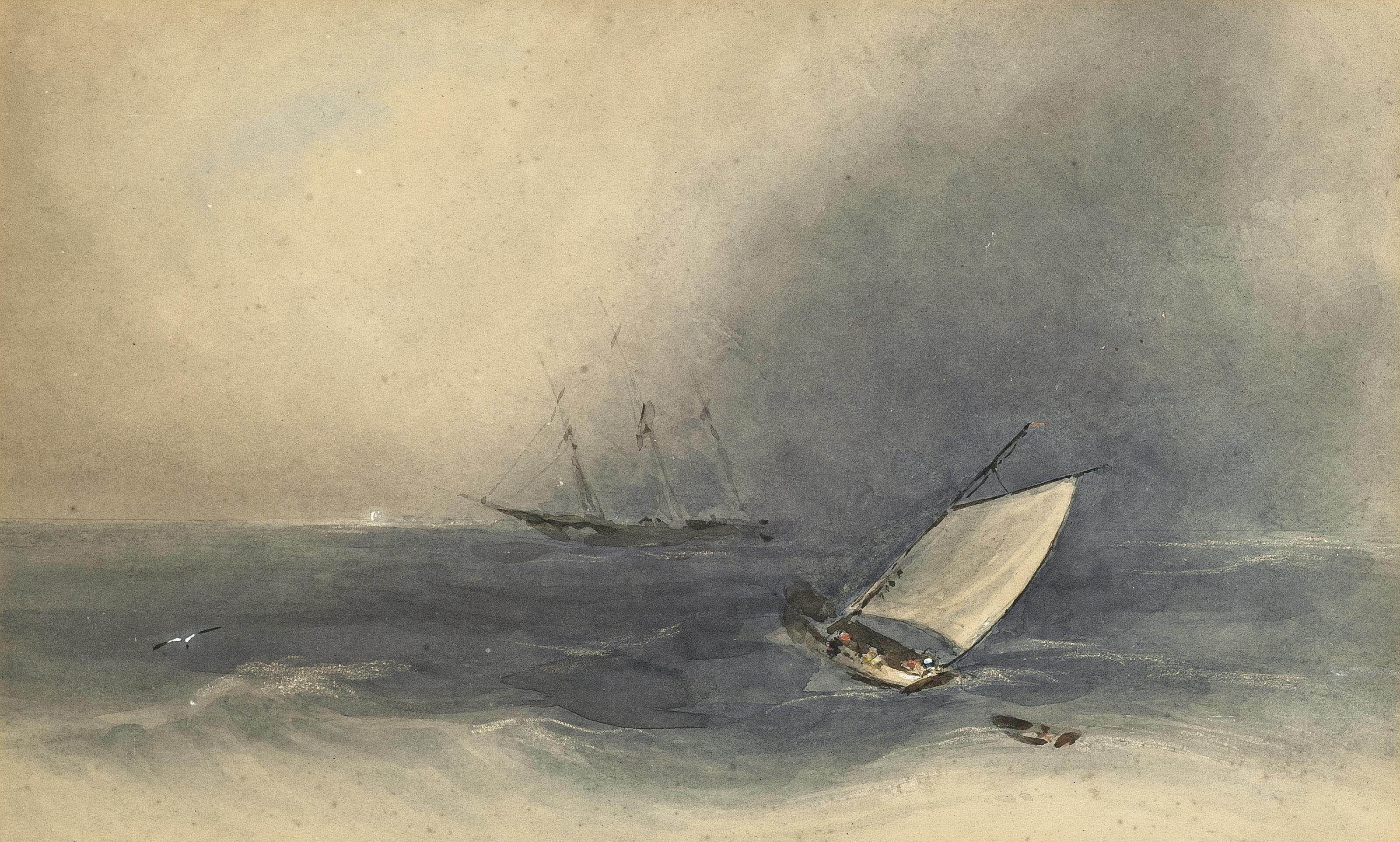 A merchantman and fishing boat in a squall off Jersey