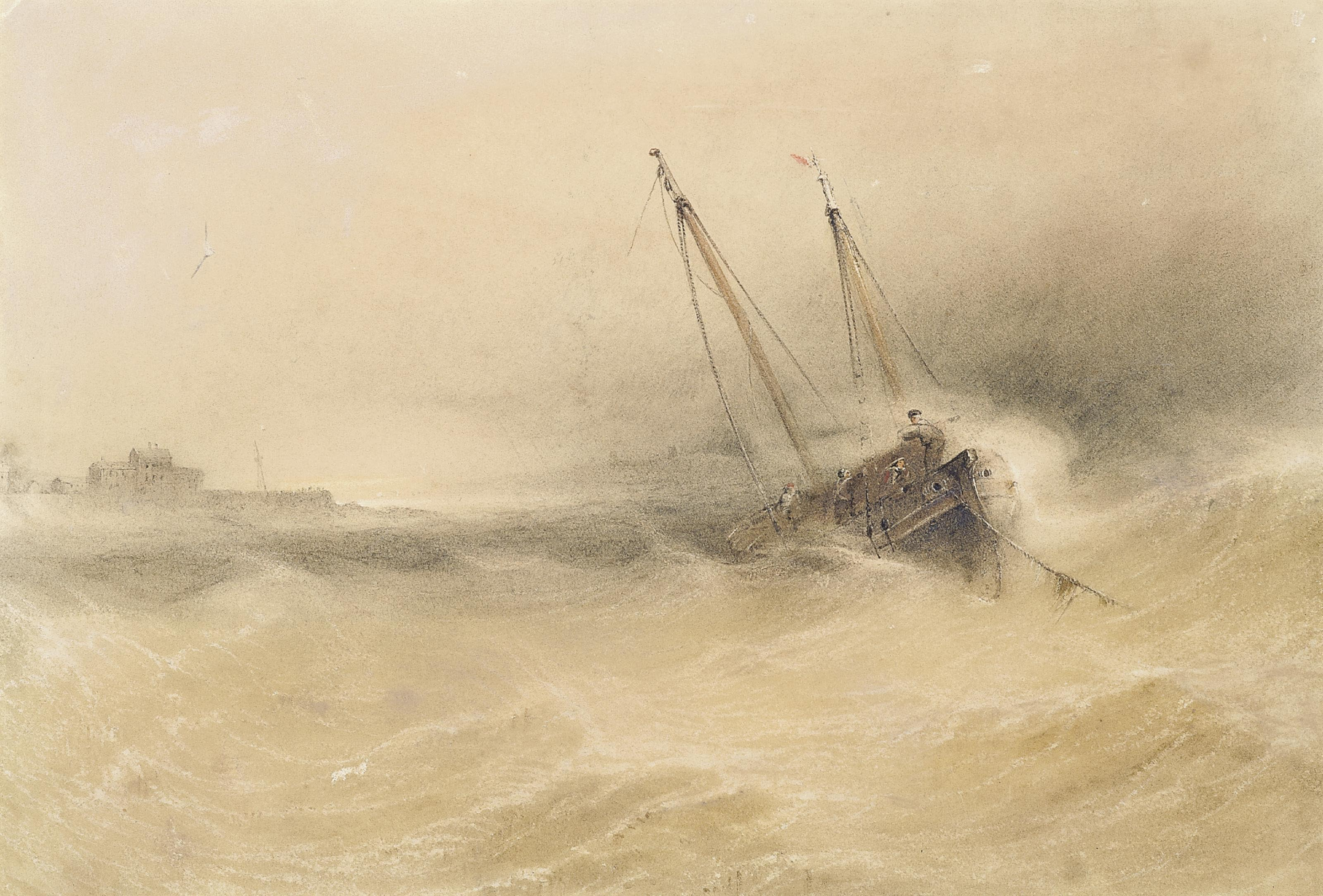 Fishing boats at anchor and weathering the storm