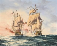 The U.S.S. Constellation engaging the French frigate L'Insurgente off Nevis, 9th February 1799