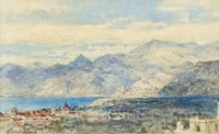 Xebecs off an Italian harbour; and Bordighera viewed from the hills (illustrated)