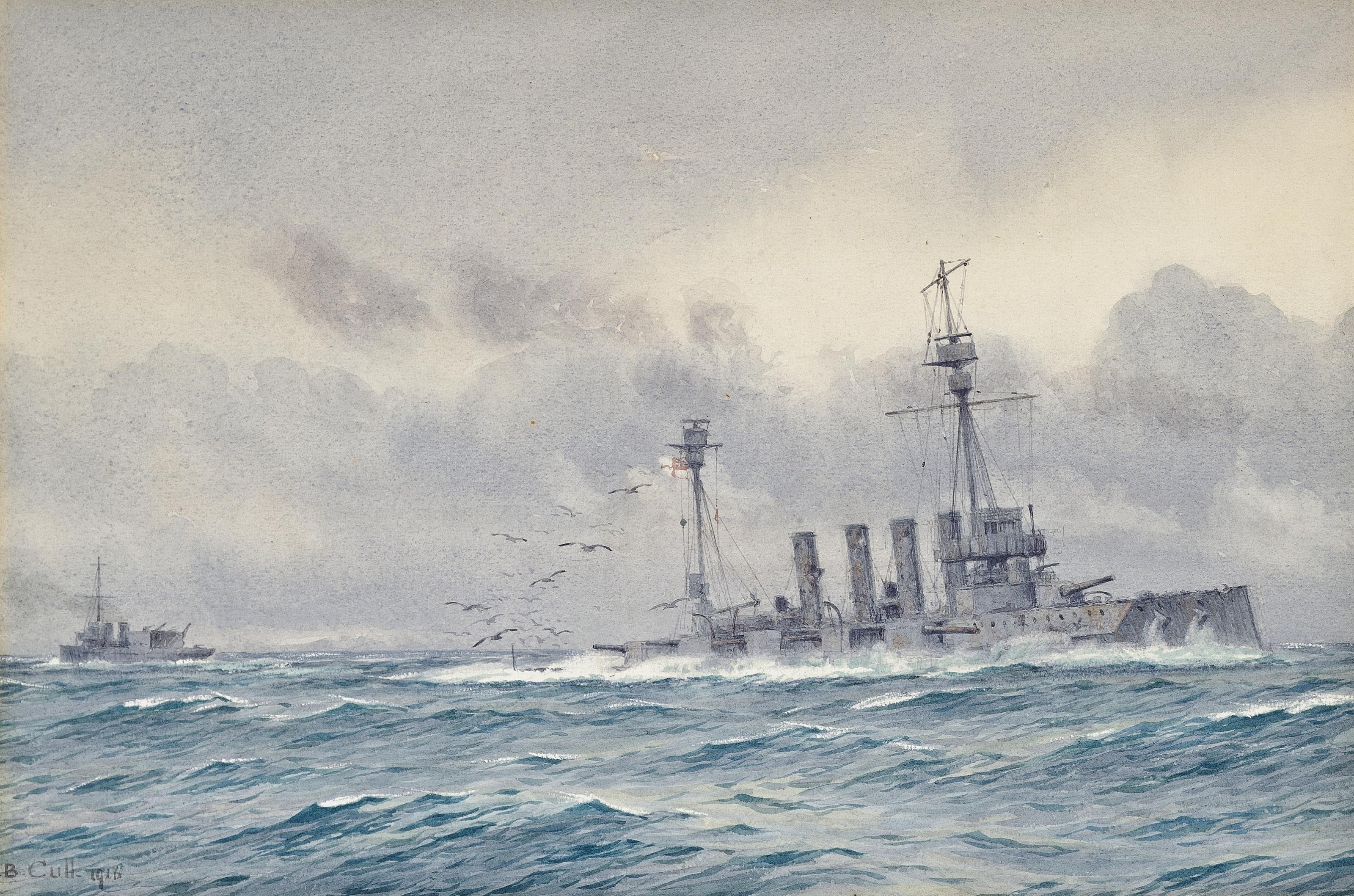 The sinking of H.M.S. Warrior after the Battle of Jutland