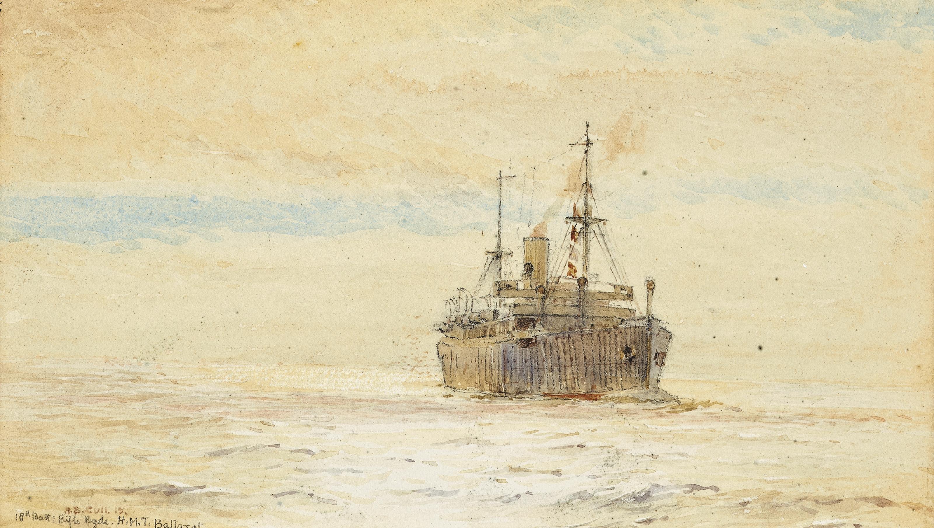 H.M.T. Ballarat in calm seas