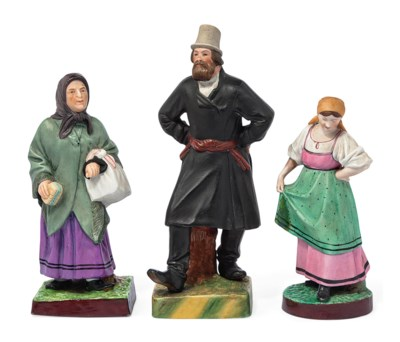 THREE RUSSIAN BISCUIT PORCELAI