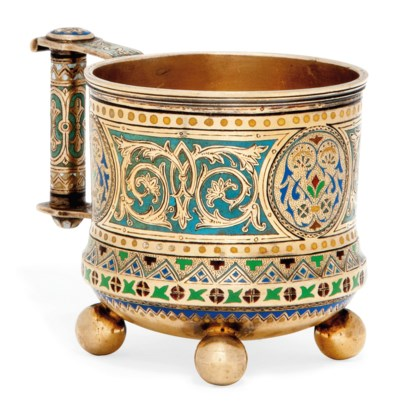 A RUSSIAN SILVER-GILT AND CHAM