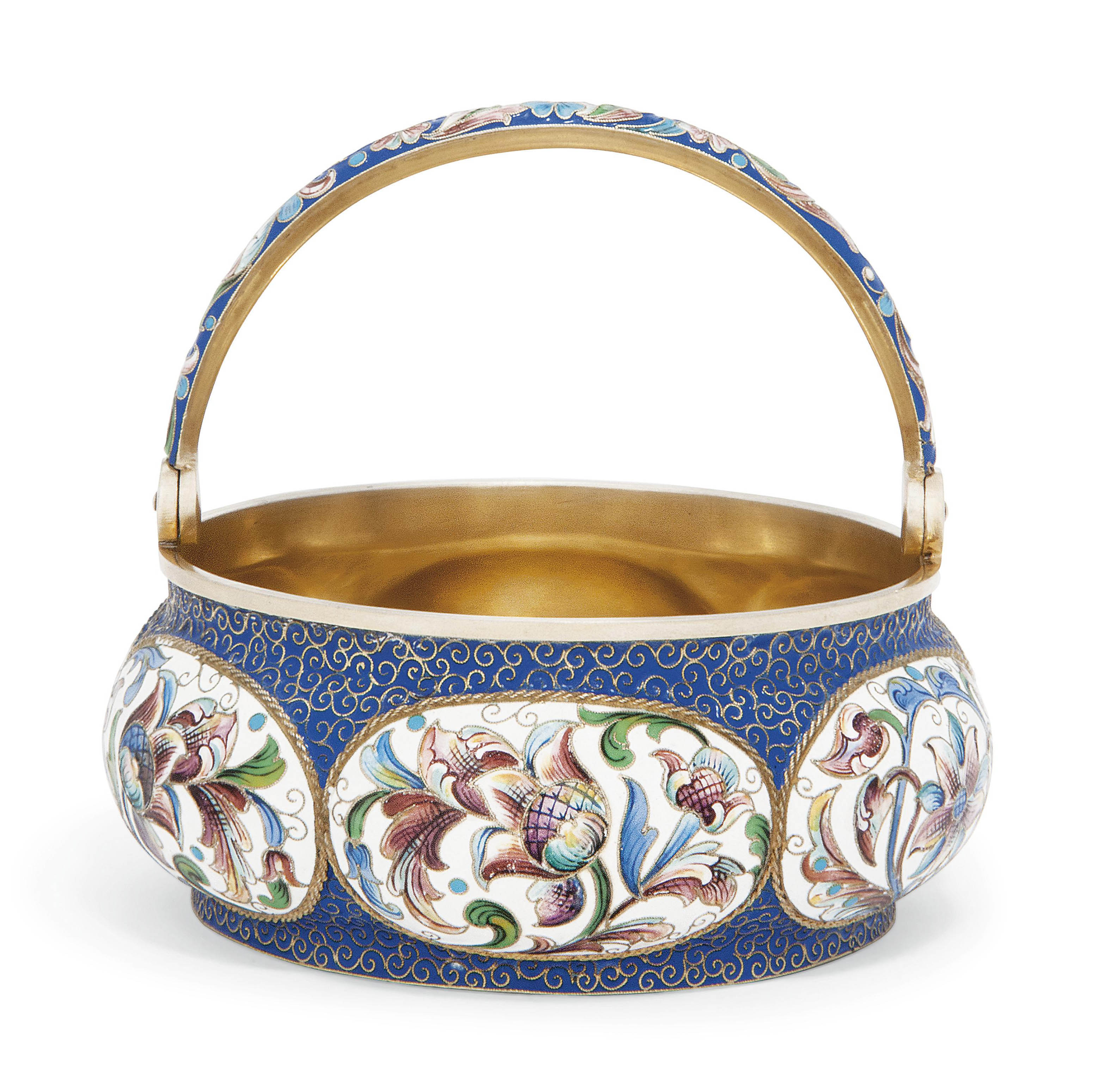 A RUSSIAN SILVER-GILT AND CLOISONNE ENAMEL SWING-HANDLED SUGAR BOWL