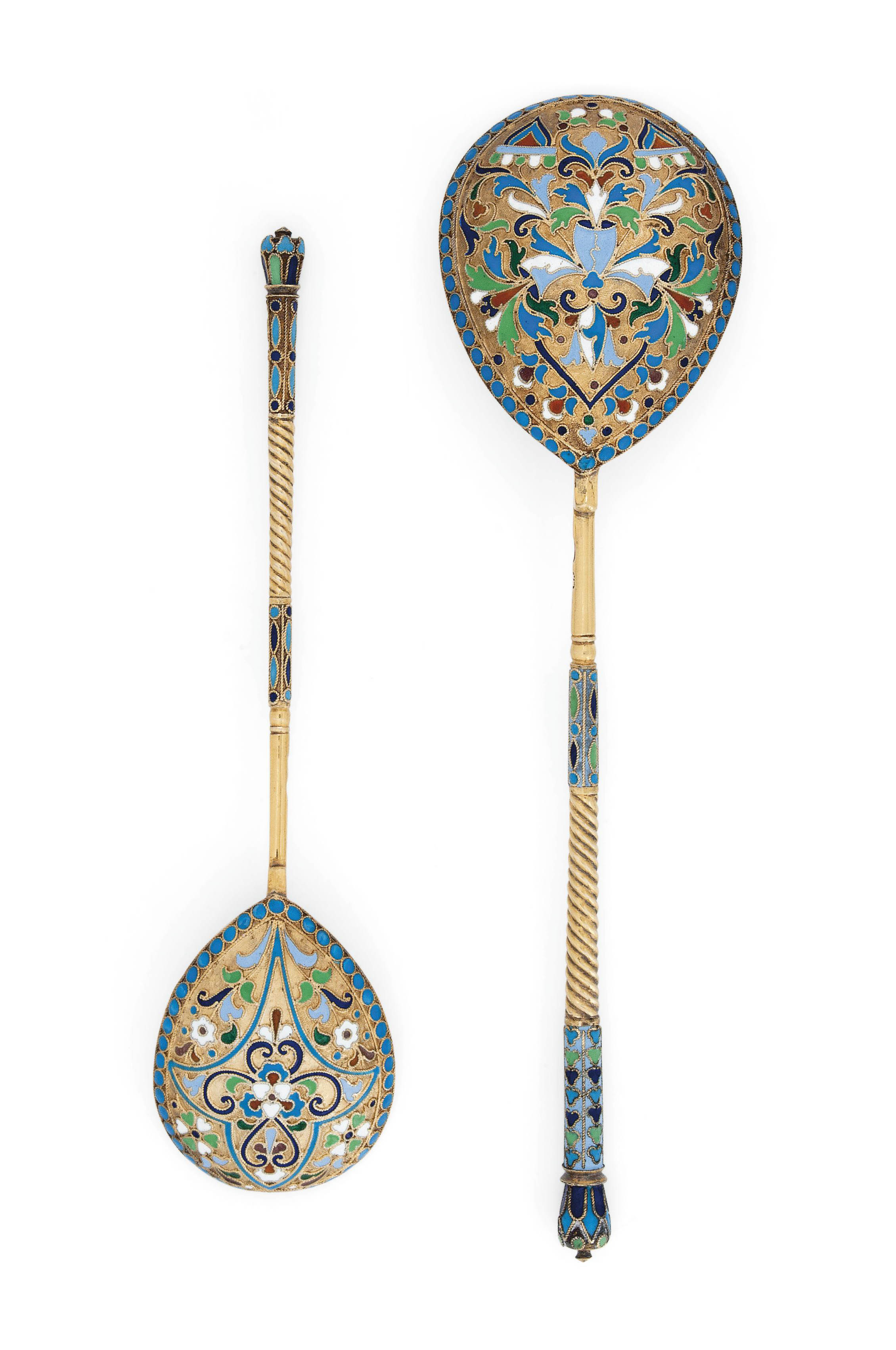 A GRADUATED PAIR OF RUSSIAN SILVER-GILT AND CLOISONNE ENAMEL SPOONS