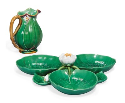 A MINTON MAJOLICA WATER LILY J