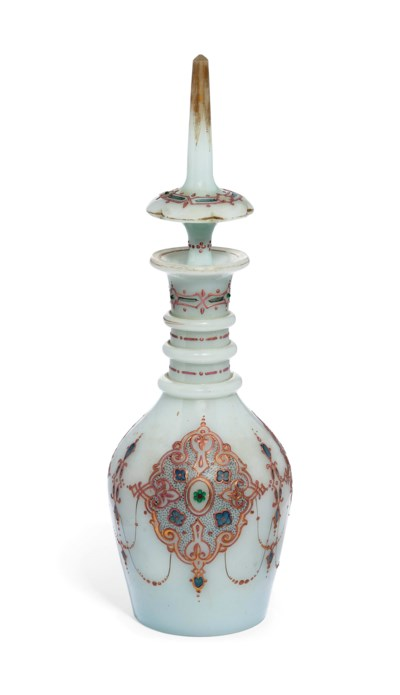 A BOHEMIAN OPAQUE-GLASS DECANT