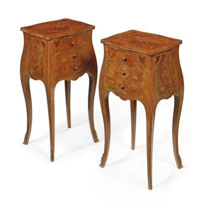 A PAIR OF TULIPWOOD AND FLORAL