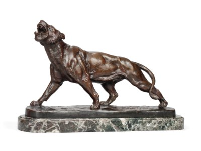 A FRENCH BRONZE MODEL OF A TIG