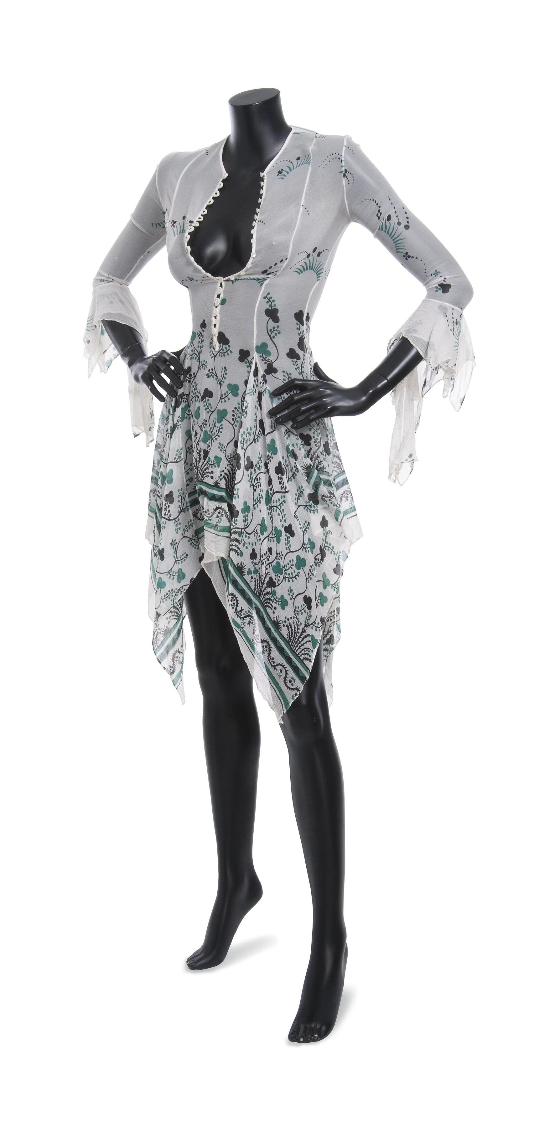 A PRINTED CHIFFON DRESS